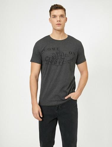 Koton Yazili Baskili T-Shirt Gri